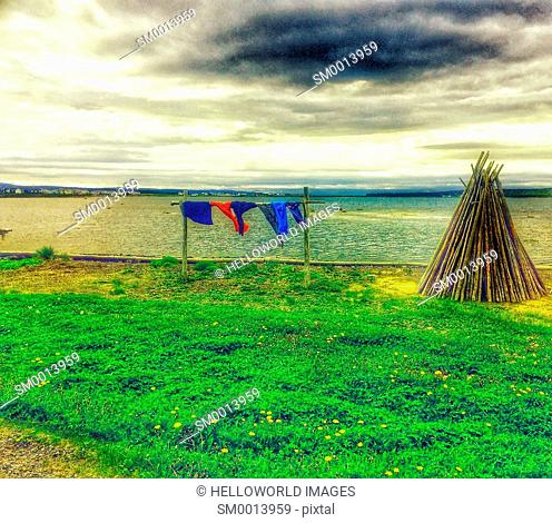 Wigwam made of tree branches and washing line, Newfoundland, Canada