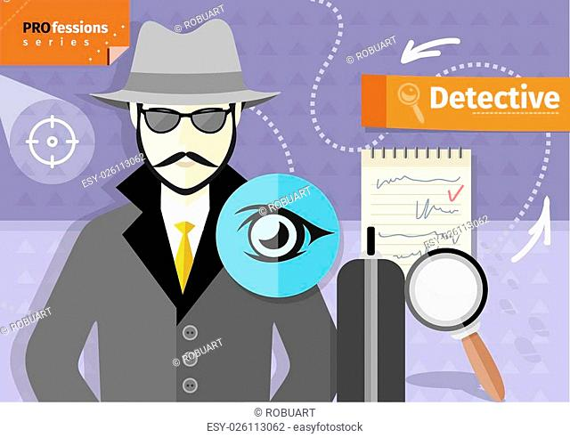 Profession series with young mustached male detective in hat, coat and sunglasses tracking down criminals