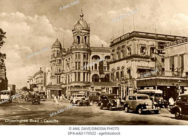 Old vintage 1900s photo Chowringhee Road, Calcutta, Kolkata, West Bengal, India, Asia