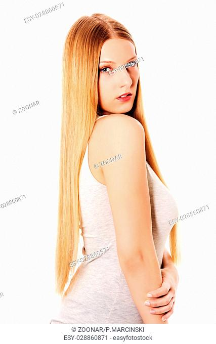 Blond hair. Beautiful woman with straight long hair