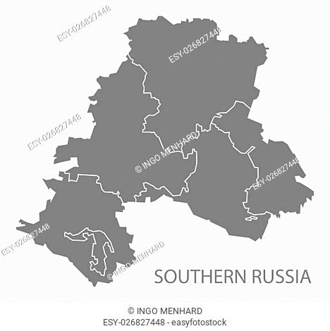 Southern Russia with borders Map grey