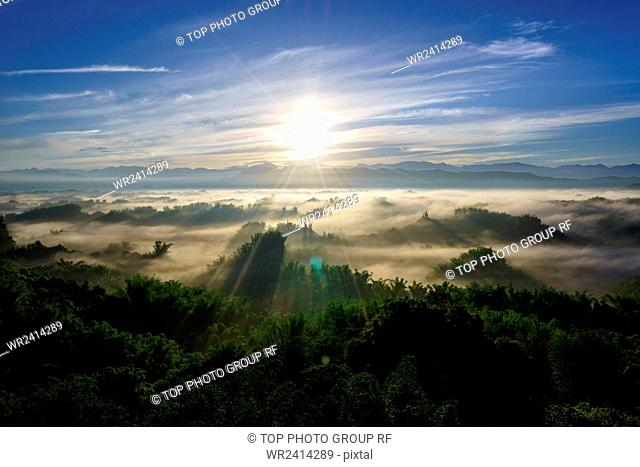 The Rising Sun And Sea Of Clouds Erliao Tainan Taiwan