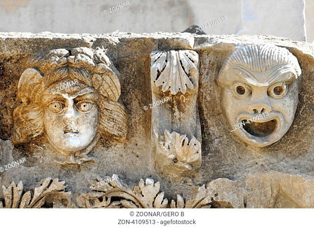 Myra Theatermasken am Fries Türkei, Myra theater masks on the frieze Turkey