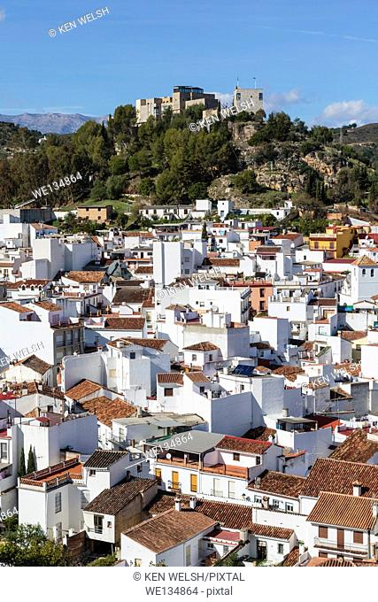 Monda, Malaga Province, Andalusia, southern Spain. Typical white-washed Spanish town