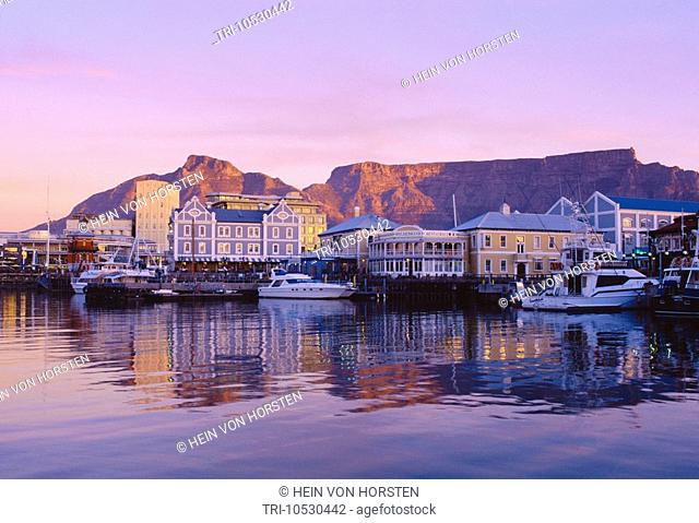 Cape Town South Africa Victoria & Alfred Waterfront after Sunset with Table Mountain in Background