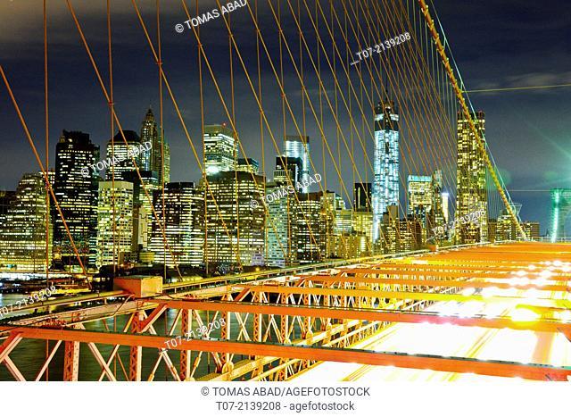 Brooklyn Bridge, View of One World Trade Center, 1 WTC, Freedom Tower, Ground Zero, at night, Manhattan, New York City, New York, United States, North America