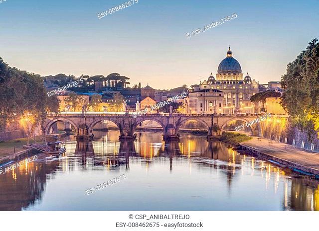 Ponte Sant'Angelo (Bridge of Hadrian) in Rome, Italy
