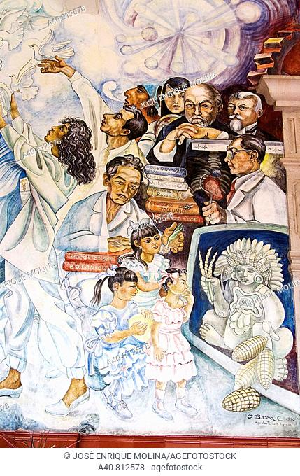 Mexico.Aguascalientes.Palace of Gobierno.Murals of  O. Barra Cunningham.Allegory of education
