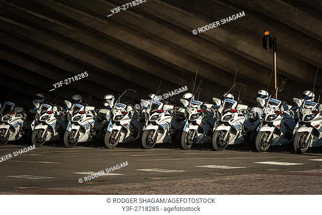Traffic police motorcycles parked wheel-to-wheel, ready for inspection. Sydney, NSW, Australia, 2016