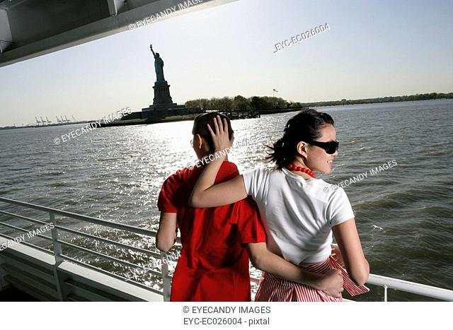 Young couple aboard a ferry in the Hudson River