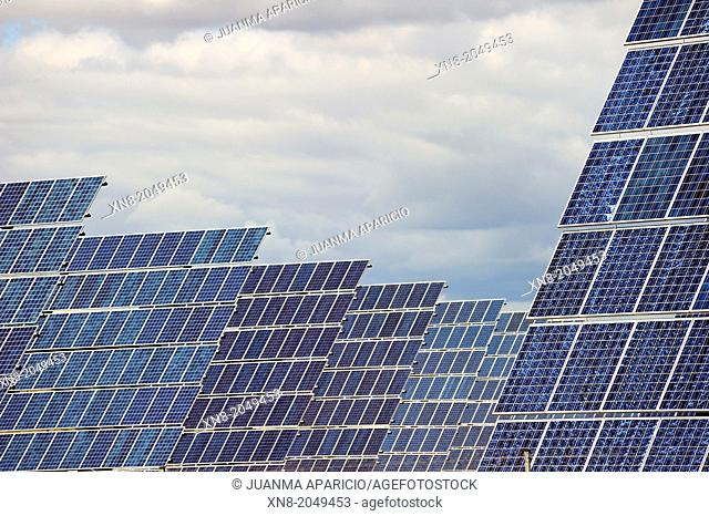Solar power plant. Rows of photovoltaic arrays, La Rioja, Spain, Europe