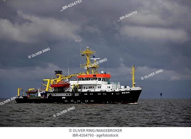 Wega container ship, survey ship, wreck search ship and research vessel of the Federal Maritime and Hydrographic Agency, North Sea, Schleswig-Holstein, Germany