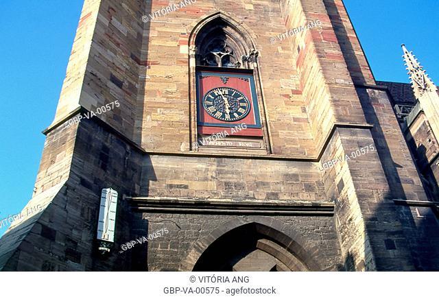In the mother church; details; clock; solar calendar; Colmar; Alsace; France