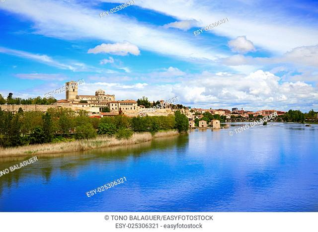 Zamora skyline by Duero river of Spain on the Via de la Plata way to Santiago
