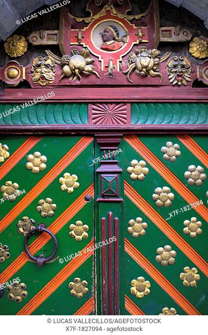 House of the Brotherhood of Black Heads,detail of the main door,Tallinn,Estonia