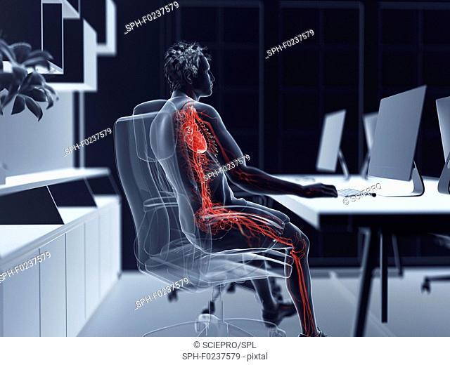 Illustration of an office worker's vascular system