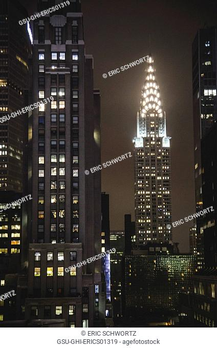 View of Chrysler Building Illuminated at Night, New York City, New York, USA