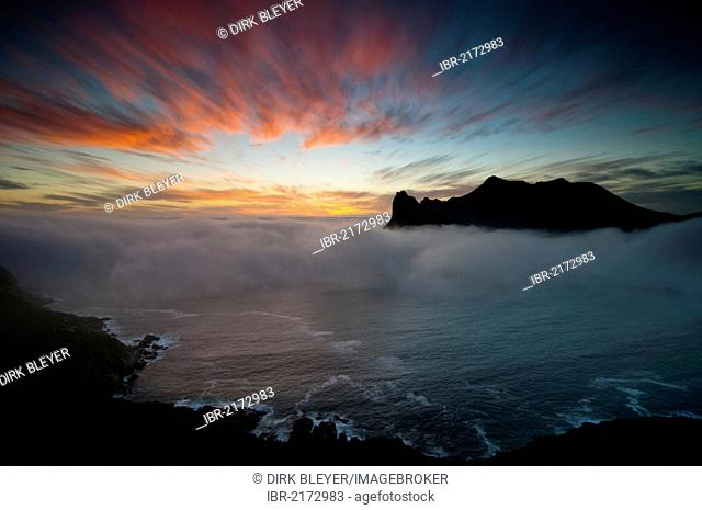 Chapman's Peak Drive, view of Hout Bay, sunset, Cape Town, Western Cape, South Africa, Africa
