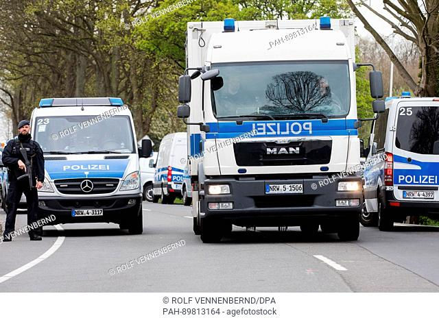 Apolice car leaves the entrance of the l'Arrivée hotel in Dortmund, Germany, 12 April 2017. Three explosions occurred next to the team bus of the Borussia...