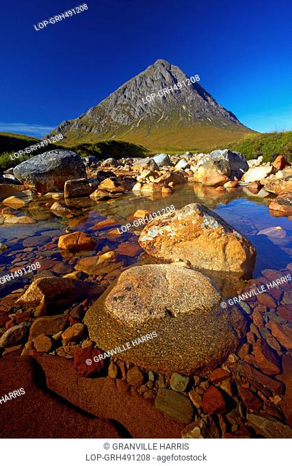 The mountain of Buchaille Etive Mor from the river Coupall on Rannoch Moor