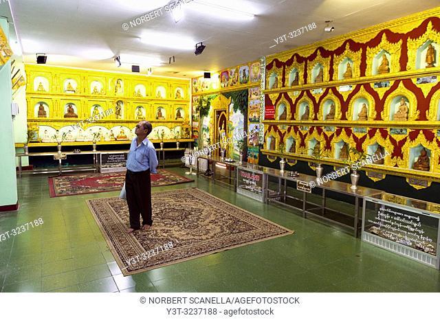 Myanmar (formerly Burma). Yangon (Rangoon). Kyaukhtatgyi Pagoda. Multi-Buddha Room