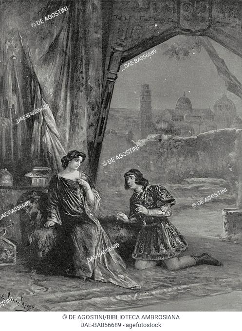 Monna Vanna in the tent of Prinzivalle, scene from the Opera Monna Vanna by Henry Fevrier, Theatre de l'Opera, Paris, France