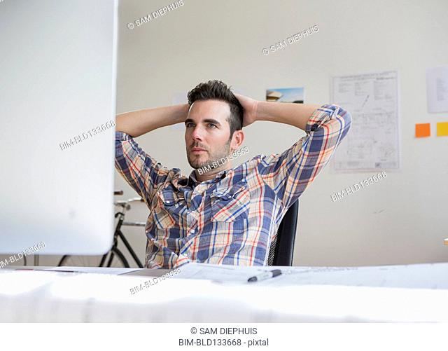 Caucasian architect working in office