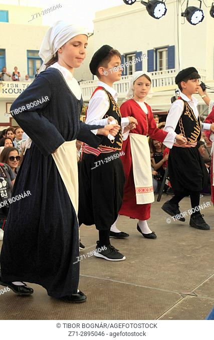 Greece, Cyclades, Mykonos, Saints Constantine and Eleni, celebration, festival, children, dancing,