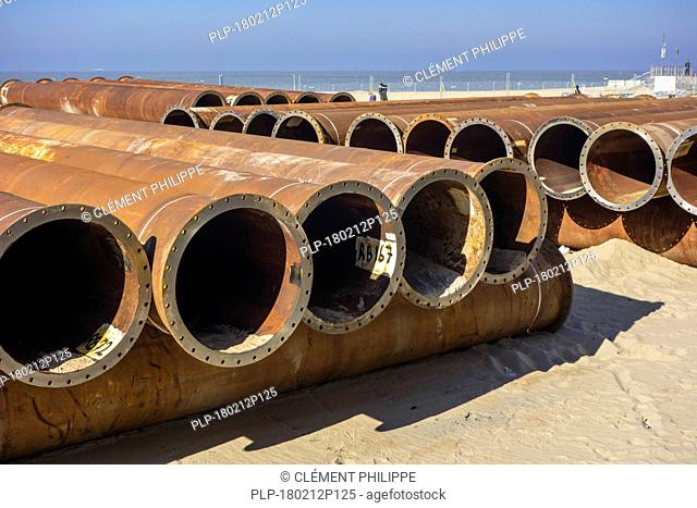 Pipeline tubes for sand replenishment / beach nourishment to make wider beaches to reduce storm damage to coastal structures