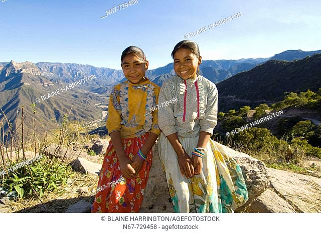Tarahumara Indian sisters, Urique Canyon, the deepest canyon in the Sierra Tarahumara at 6,200 feet, is one of six distinct canyons that make up the Copper...