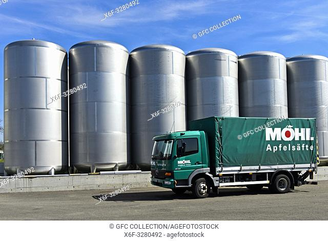 Storage tanks for apple juice of a juice producing company, Mosterei Möhl AG, Arbon at Lake Constance, Switzerland