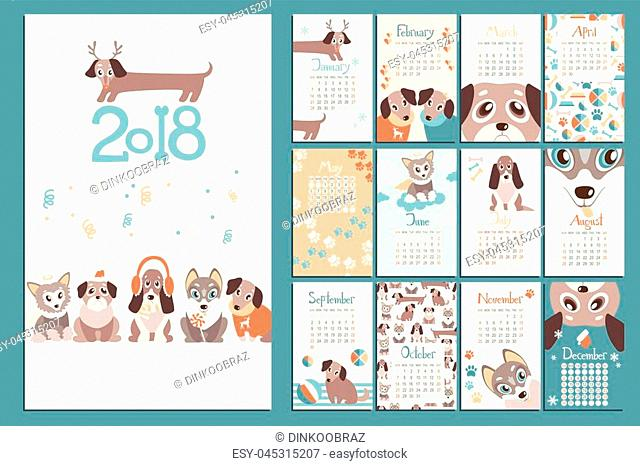 Creative calendar 2018 with cute cartoon puppies. Different breeds. Flat colored illustration, template. Can be used for web, print, card, poster, banner