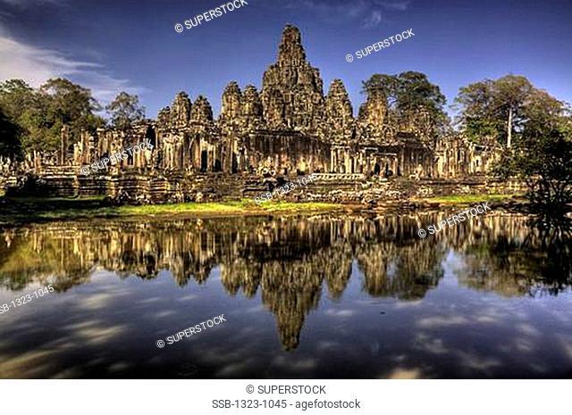Temple at the lakeside, Bayon Temple, Angkor Thom, Siem Reap, Angkor, Cambodia