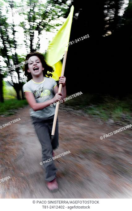 girl, flag running through the woods, Revolution, Chile