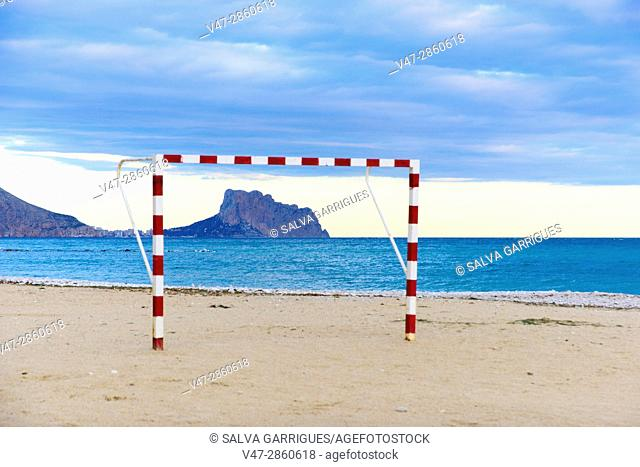Football goal on the beach of Altea, framed the Peñon d'Ifach mountain, Alicante, Valencia, Spain, Europe