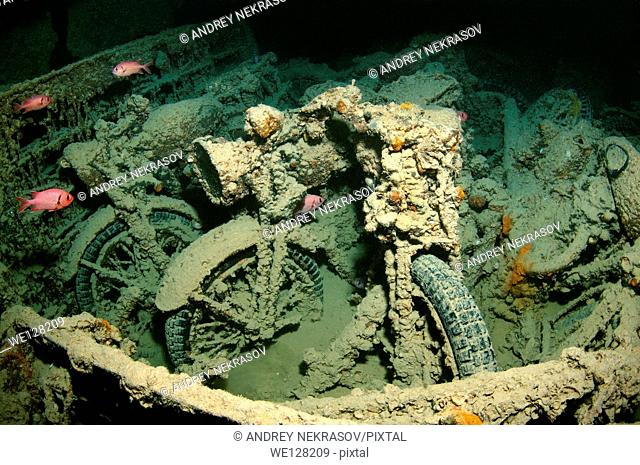 "motorcycle """"Norton 16H"""" on shipwreck """"SS Thistlegorm"""". Red sea, Egypt, Africa"