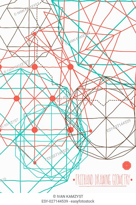 Simple background, poster with abstract vector figures with hand drawing lines with title