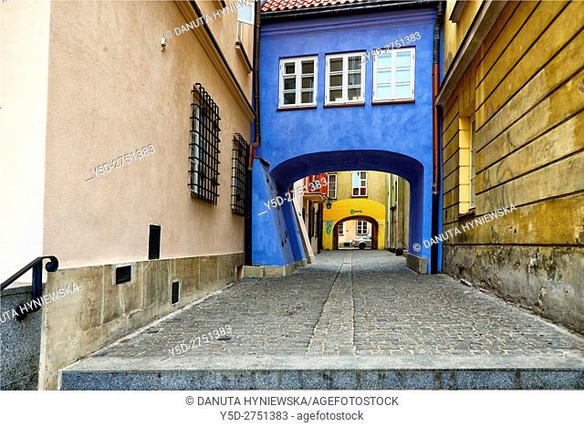 Pedestrian passage connecting Jezuicka and Brzozowa streets, Old Town of Warsaw, UNESCO World Heritage, Warsaw, Poland, Europe