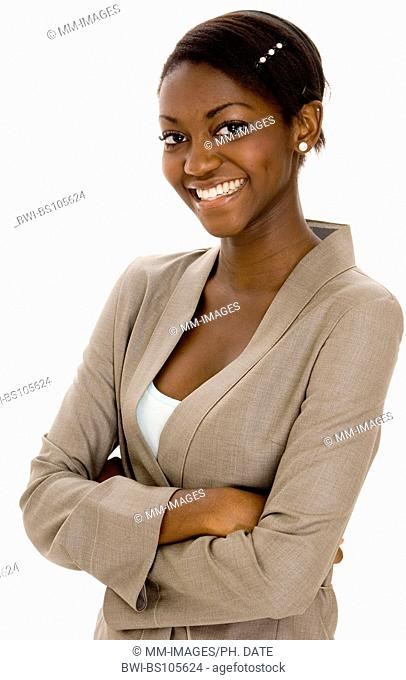 A young black business woman smiling