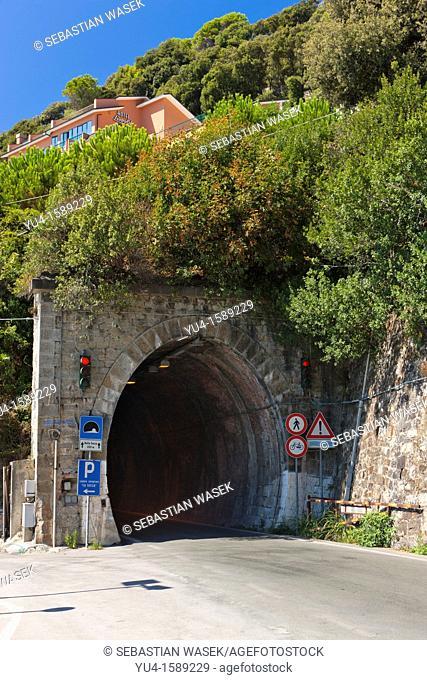 Entrance to Vallegrande Tunnel from Moneglia to Trigoso, Province of Genoa, Liguria, Italy