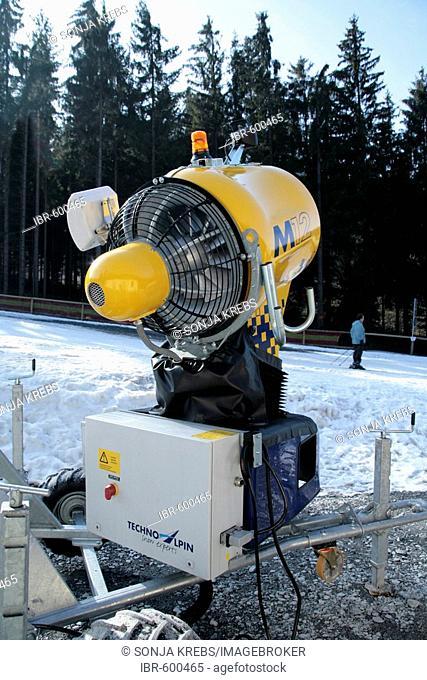 Snow cannon on the Ochsenkopf in Franconia