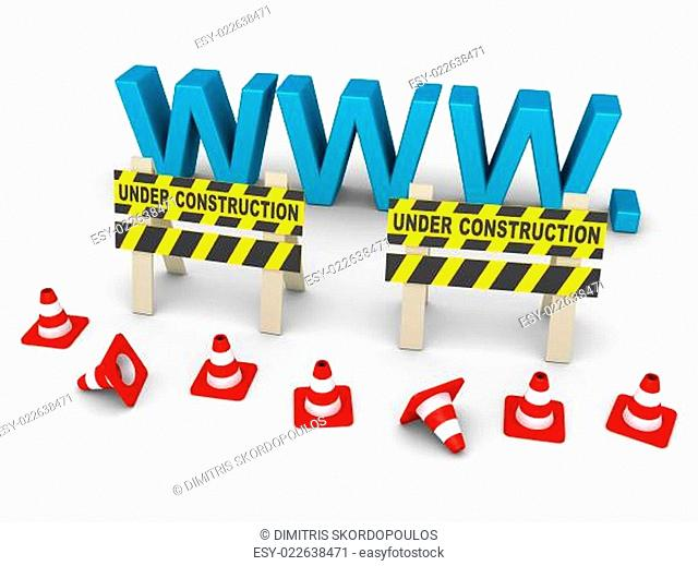 Under construction signs and www letters