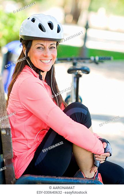 Happy Sporty Woman Listening To Music, Outdoors