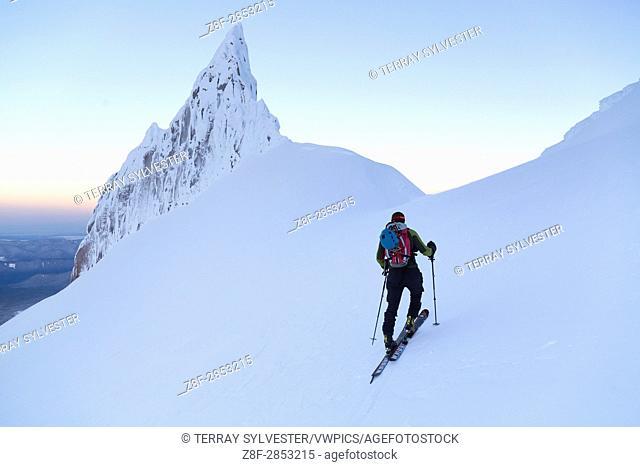 A ski mountaineer ascending Mount Hood, Oregon, United States