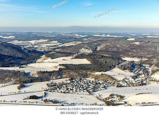 Elleringhausen and surrounding area in winter with snow, Olsberg, Sauerland, North Rhine-Westphalia, Germany