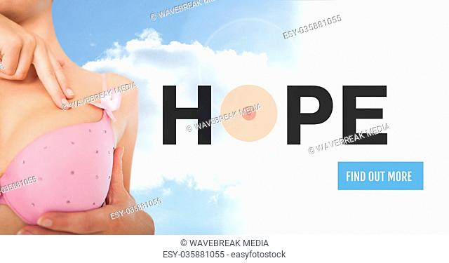 Find out more button with Hope text on Breast cancer woman with sky clouds background checking in br