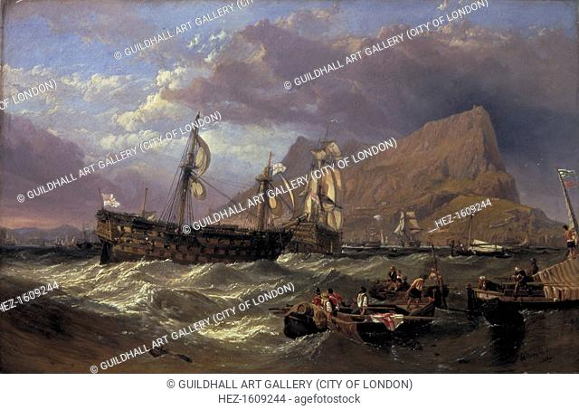 'The 'Victory' towed into Gibraltar', 1854. The ship was carrying the body of Nelson at the time