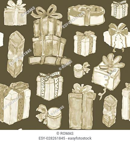 Seamless texture with hand drawn watercolor gift boxes. Perfect background for scrapbooking, wrapping paper or other holiday designs