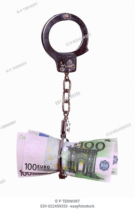 european currency with handcuff