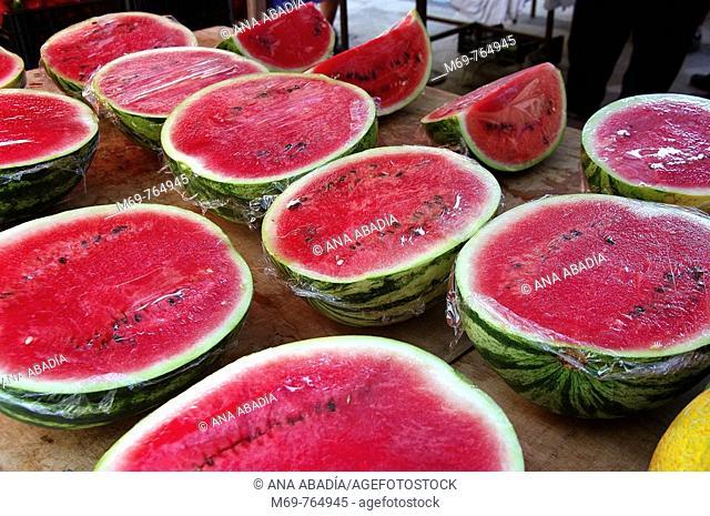 Watermelons for sale at market, Santanyi. Majorca, Balearic Islands, Spain